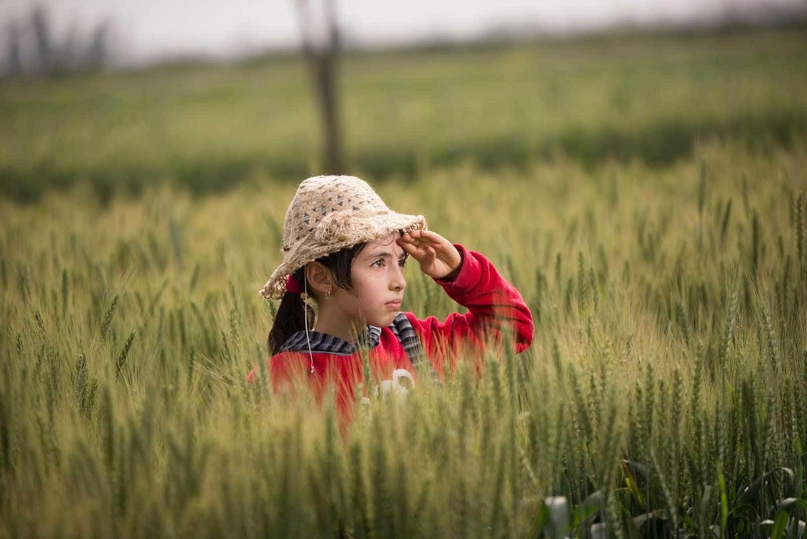 enfant dans un champ