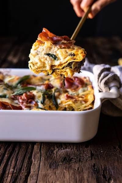 Lasagnes au butternut et épinards
